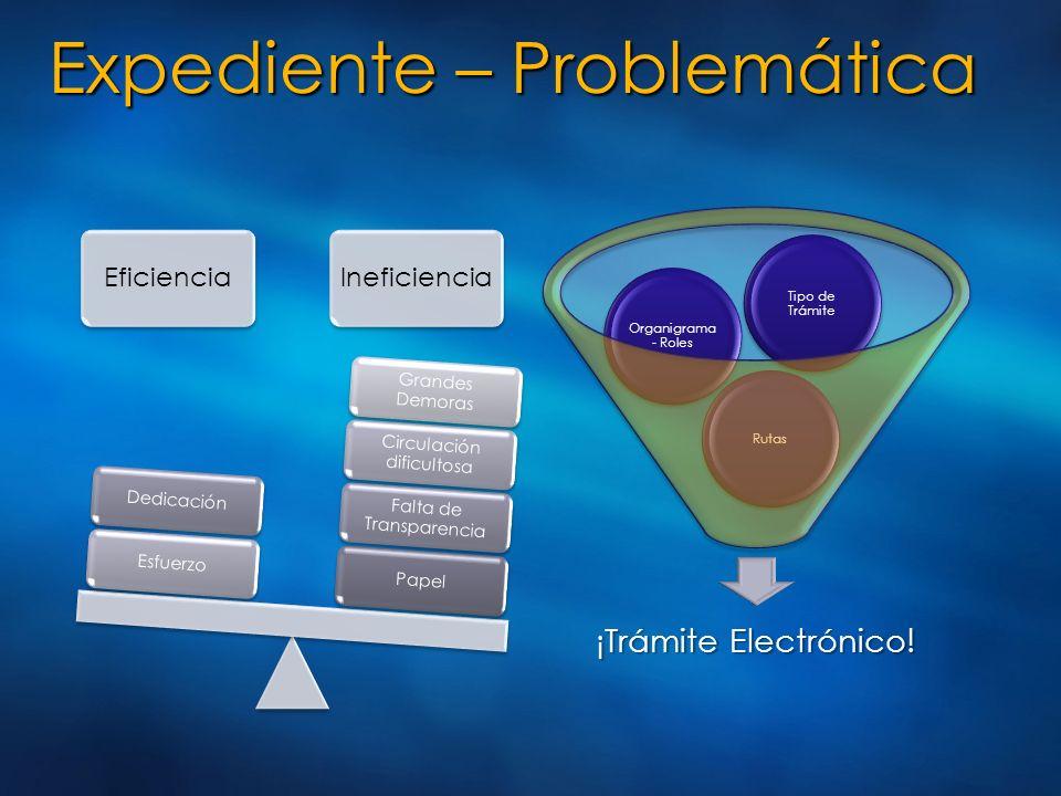 Expediente – Problemática EficienciaIneficiencia Papel Falta de Transparencia Circulación dificultosa Grandes Demoras EsfuerzoDedicación ¡Trámite Elec