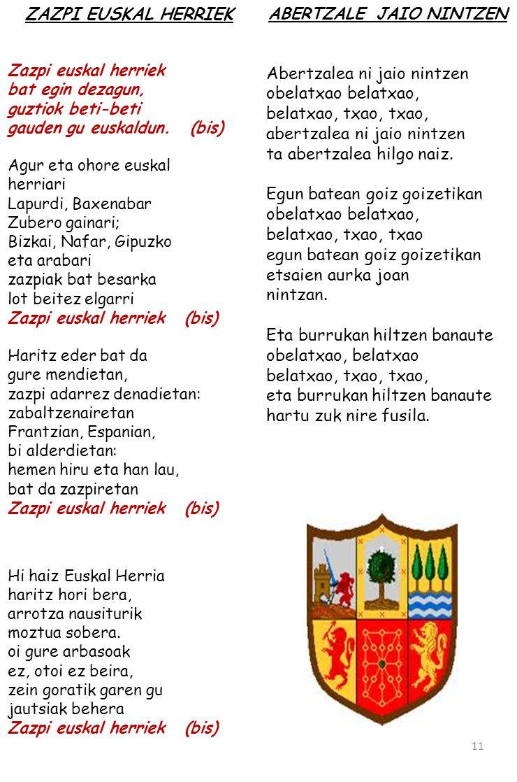 Zazpi euskal herriek bat egin dezagun, guztiok beti-beti gauden gu euskaldun. (bis) Agur eta ohore euskal herriari Lapurdi, Baxenabar Zubero gainari;