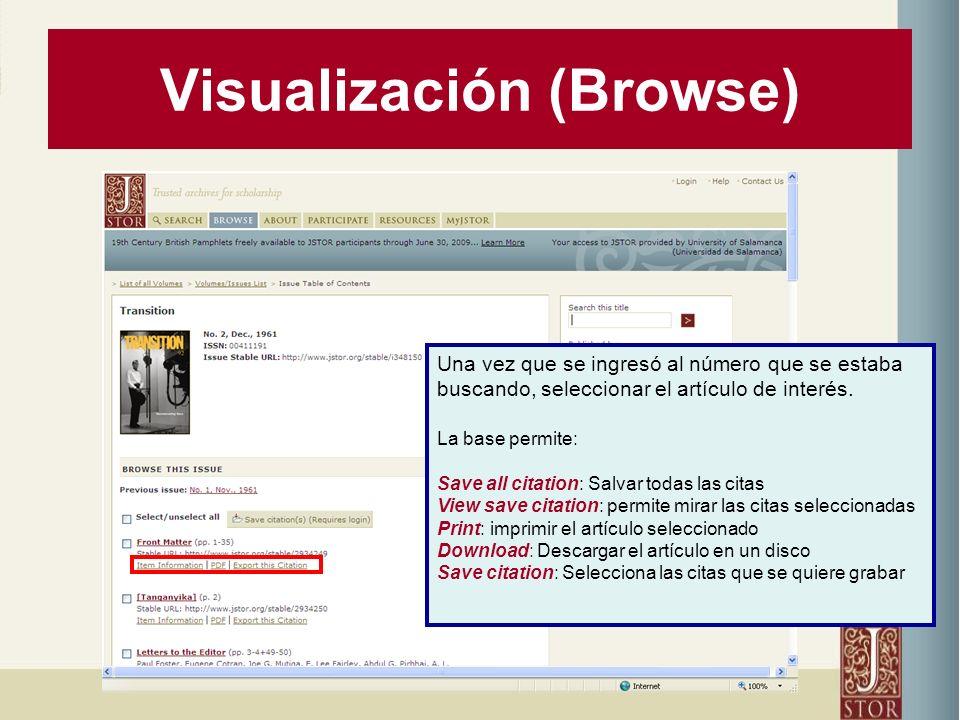 Visualización (Browse) Una vez que se ingresó al número que se estaba buscando, seleccionar el artículo de interés.
