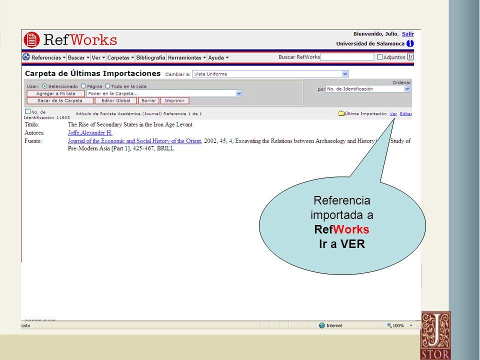 Referencia importada a RefWorks Ir a VER