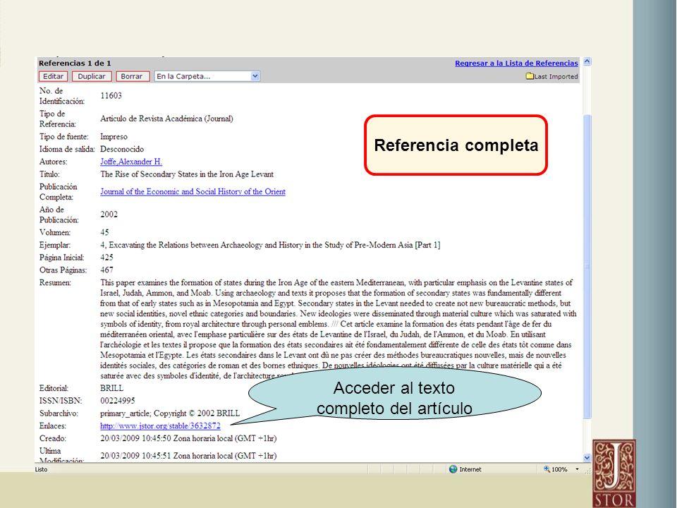 Referencia completa Acceder al texto completo del artículo