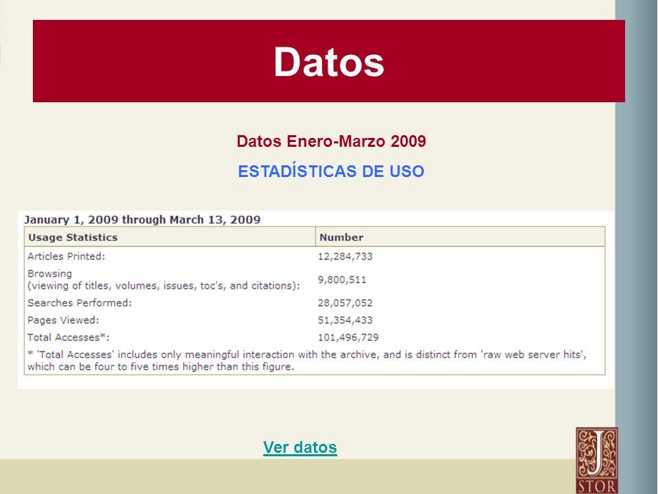 Datos Datos Enero-Marzo 2009 ESTADÍSTICAS DE USO Ver datos