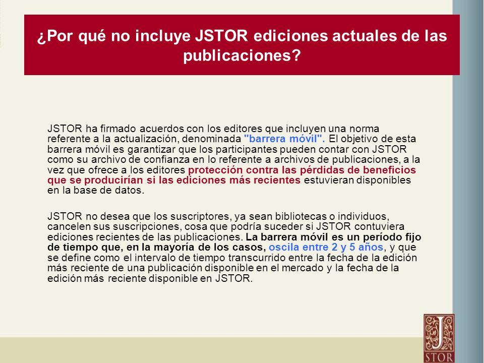 ¿Por qué no incluye JSTOR ediciones actuales de las publicaciones.