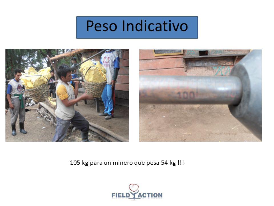 Peso Indicativo 105 kg para un minero que pesa 54 kg !!!