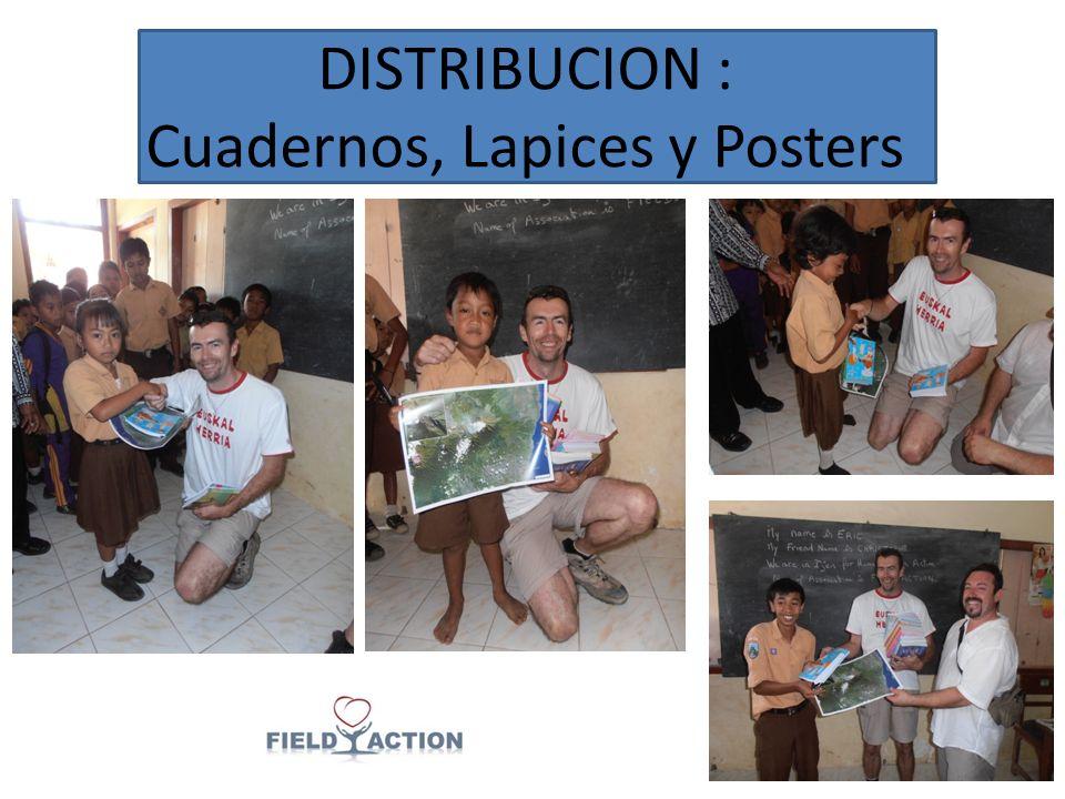DISTRIBUCION : Cuadernos, Lapices y Posters