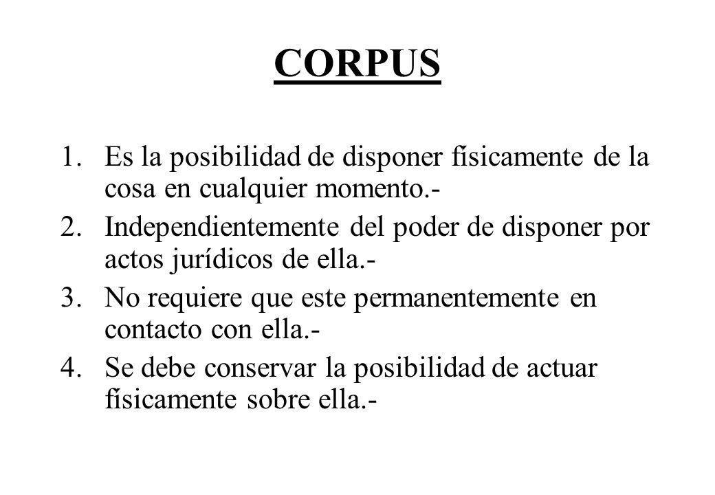CORPUS 1.Es la posibilidad de disponer físicamente de la cosa en cualquier momento.- 2.Independientemente del poder de disponer por actos jurídicos de