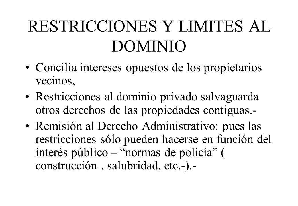 RESTRICCIONES Y LIMITES AL DOMINIO Concilia intereses opuestos de los propietarios vecinos, Restricciones al dominio privado salvaguarda otros derecho