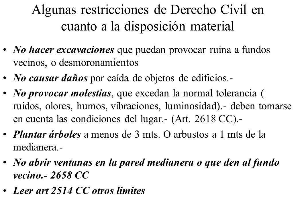Algunas restricciones de Derecho Civil en cuanto a la disposición material No hacer excavaciones que puedan provocar ruina a fundos vecinos, o desmoro