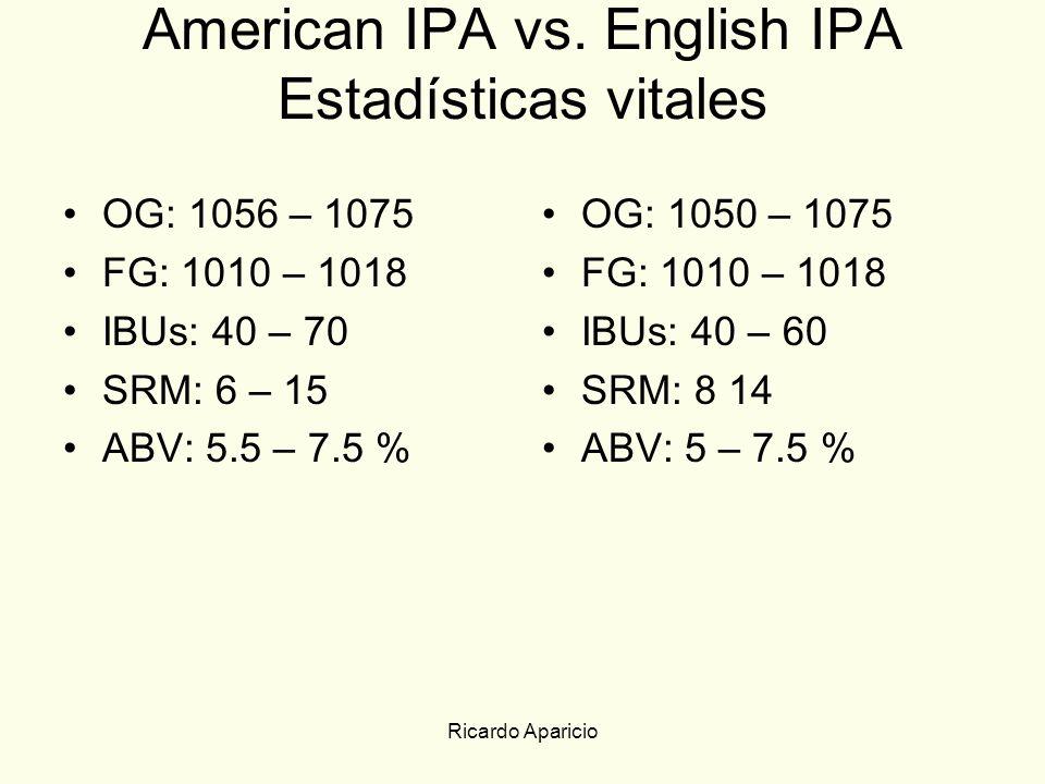 Ricardo Aparicio American IPA vs. English IPA Estadísticas vitales OG: 1056 – 1075 FG: 1010 – 1018 IBUs: 40 – 70 SRM: 6 – 15 ABV: 5.5 – 7.5 % OG: 1050