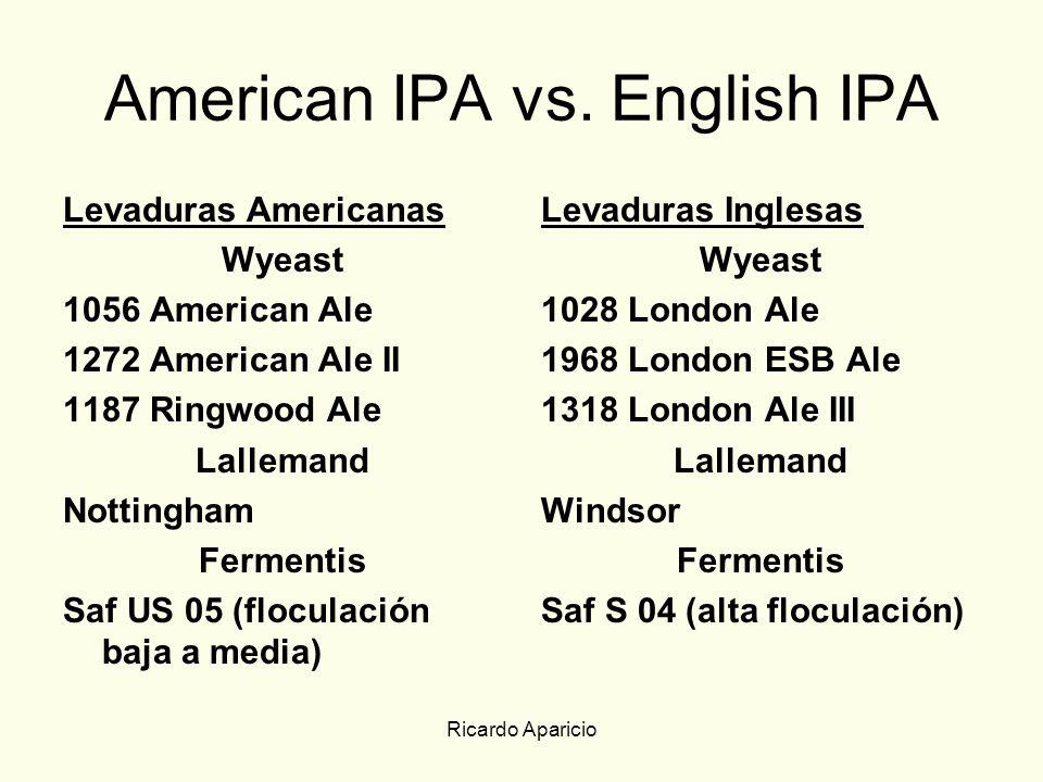 Ricardo Aparicio American IPA vs. English IPA Levaduras Americanas Wyeast 1056 American Ale 1272 American Ale II 1187 Ringwood Ale Lallemand Nottingha