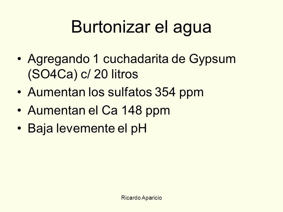 Ricardo Aparicio Burtonizar el agua Agregando 1 cuchadarita de Gypsum (SO4Ca) c/ 20 litros Aumentan los sulfatos 354 ppm Aumentan el Ca 148 ppm Baja l
