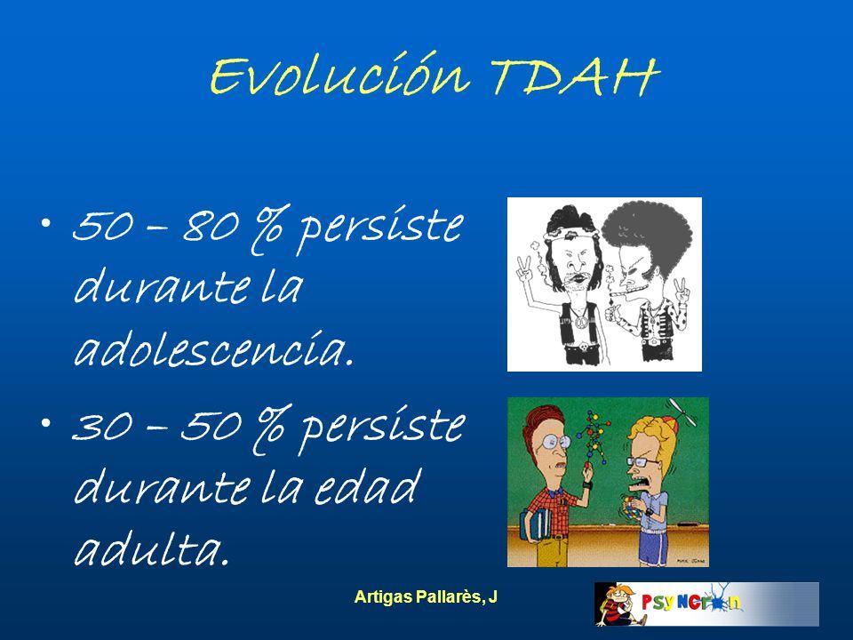 Artigas Pallarès, J Evolución TDAH 50 – 80 % persiste durante la adolescencia. 30 – 50 % persiste durante la edad adulta.