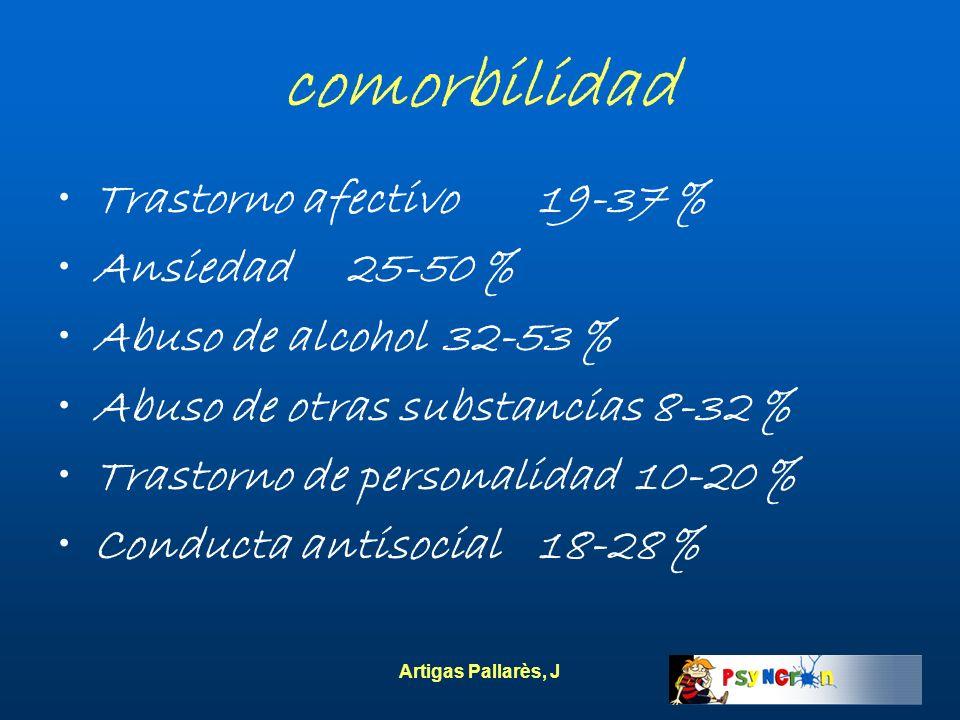 Artigas Pallarès, J comorbilidad Trastorno afectivo19-37 % Ansiedad25-50 % Abuso de alcohol32-53 % Abuso de otras substancias 8-32 % Trastorno de pers