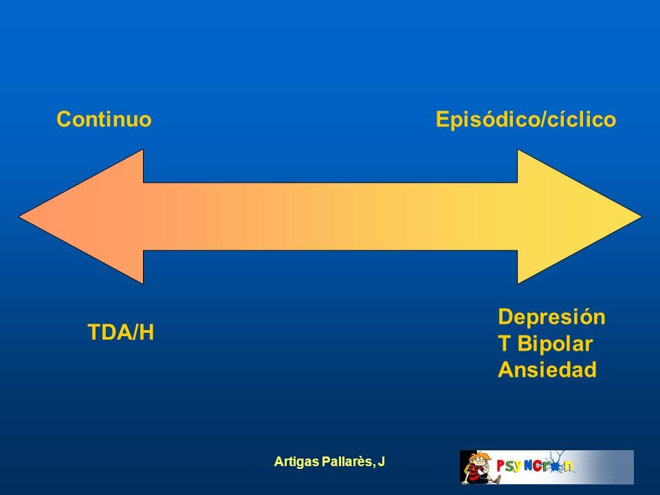 Artigas Pallarès, J Continuo Episódico/cíclico TDA/H Depresión T Bipolar Ansiedad