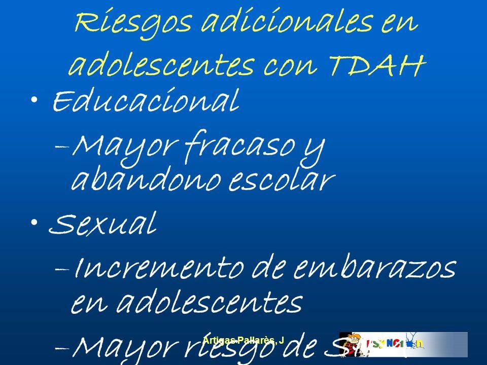 Artigas Pallarès, J Riesgos adicionales en adolescentes con TDAH Educacional –Mayor fracaso y abandono escolar Sexual –Incremento de embarazos en adol