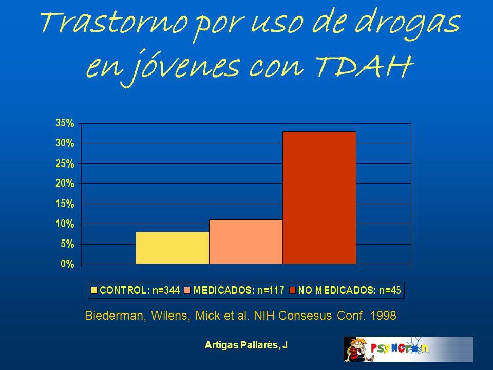 Artigas Pallarès, J Trastorno por uso de drogas en jóvenes con TDAH Biederman, Wilens, Mick et al. NIH Consesus Conf. 1998
