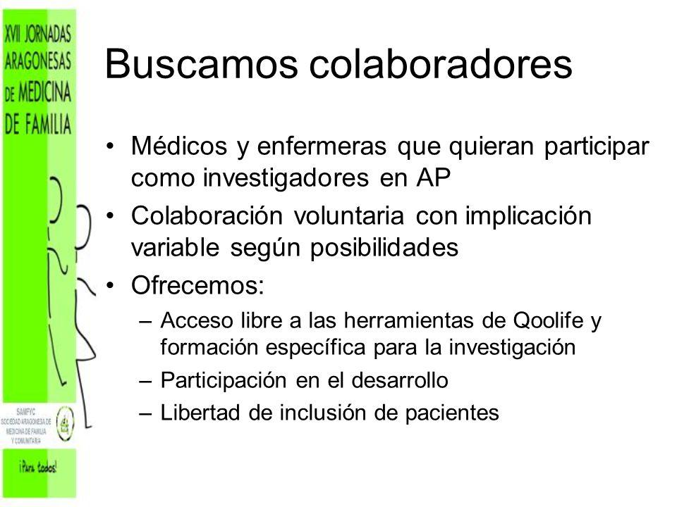 Buscamos colaboradores Médicos y enfermeras que quieran participar como investigadores en AP Colaboración voluntaria con implicación variable según po