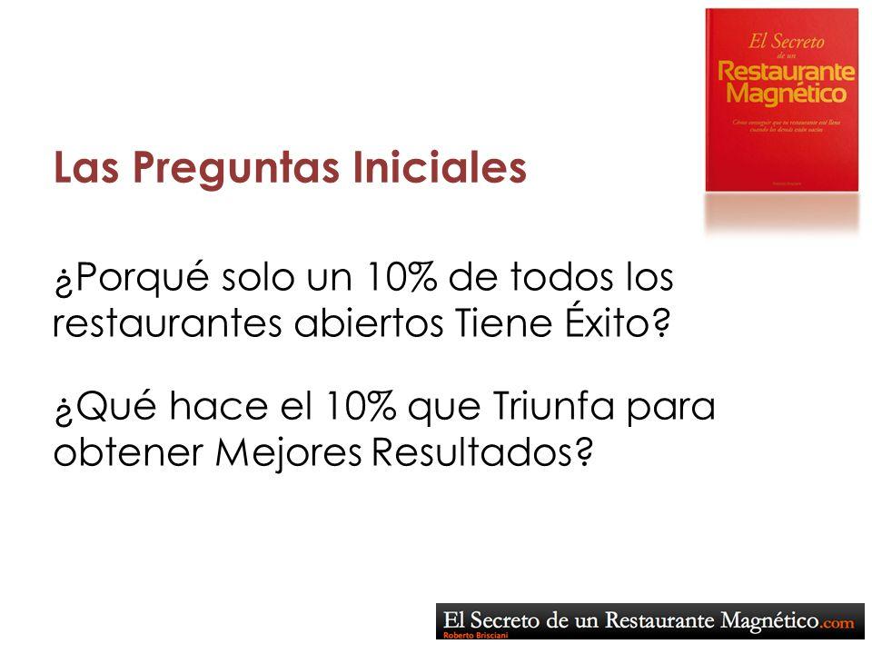 Las Preguntas Iniciales ¿Qué hace el 10% que Triunfa para obtener Mejores Resultados? ¿Porqué solo un 10% de todos los restaurantes abiertos Tiene Éxi