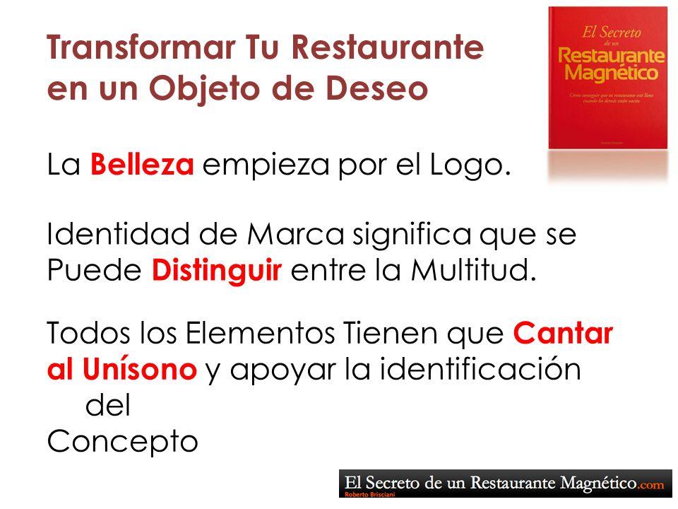 Transformar Tu Restaurante en un Objeto de Deseo La Belleza empieza por el Logo. Identidad de Marca significa que se Puede Distinguir entre la Multitu