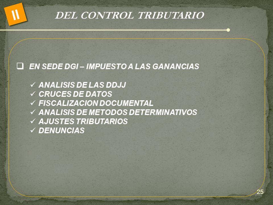 DEL CONTROL TRIBUTARIO II EN SEDE DGI – IMPUESTO A LAS GANANCIAS ANALISIS DE LAS DDJJ CRUCES DE DATOS FISCALIZACION DOCUMENTAL ANALISIS DE METODOS DET