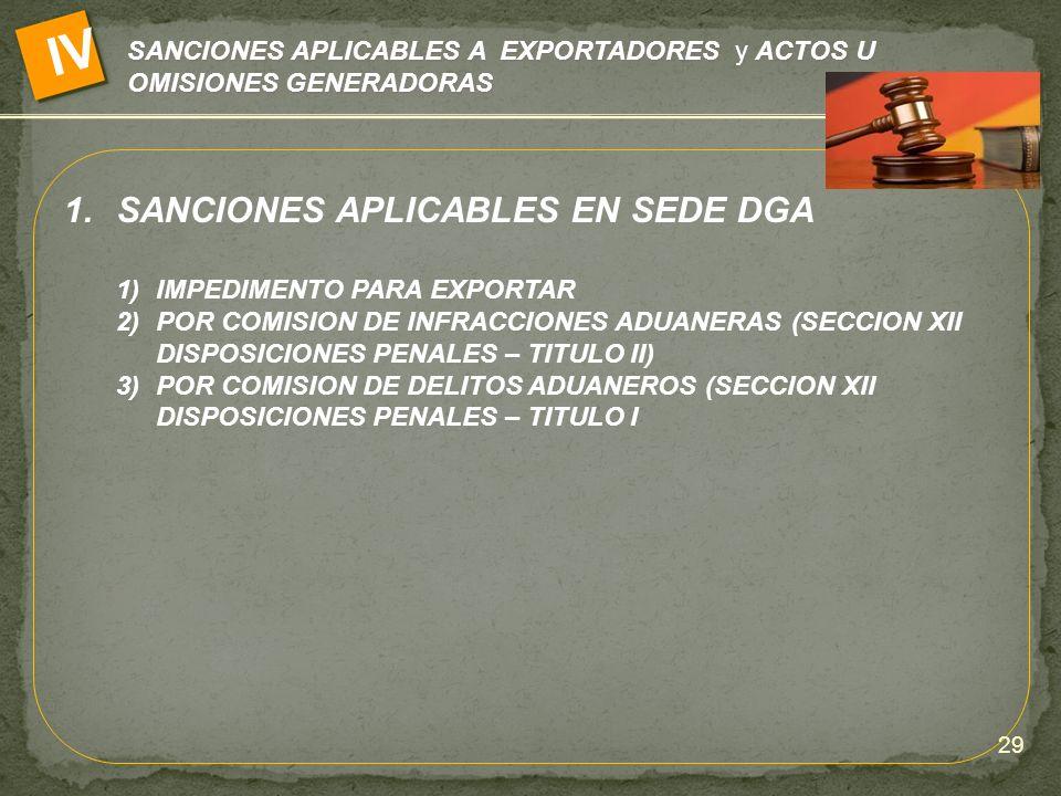 SANCIONES APLICABLES A EXPORTADORES y ACTOS U OMISIONES GENERADORAS IV 1.SANCIONES APLICABLES EN SEDE DGA 1)IMPEDIMENTO PARA EXPORTAR 2)POR COMISION D