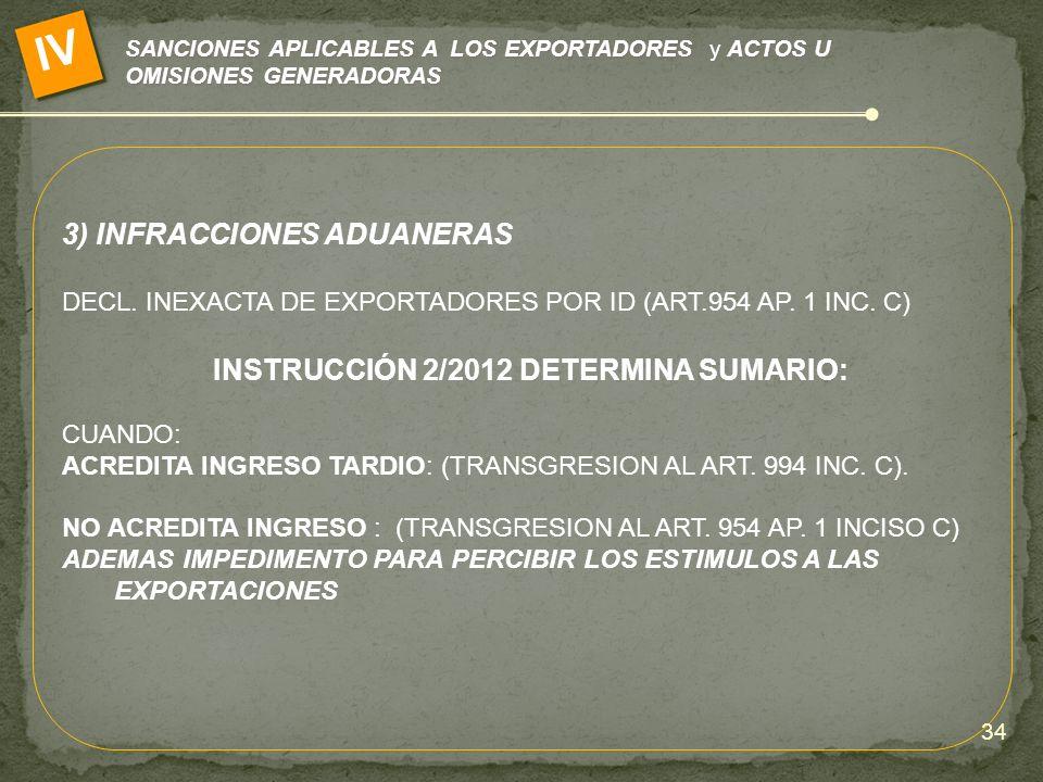 SANCIONES APLICABLES A LOS EXPORTADORES y ACTOS U OMISIONES GENERADORAS IV 3) INFRACCIONES ADUANERAS DECL. INEXACTA DE EXPORTADORES POR ID (ART.954 AP
