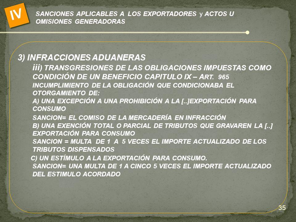 SANCIONES APLICABLES A LOS EXPORTADORES y ACTOS U OMISIONES GENERADORAS IV 3) INFRACCIONES ADUANERAS iii ) TRANSGRESIONES DE LAS OBLIGACIONES IMPUESTA