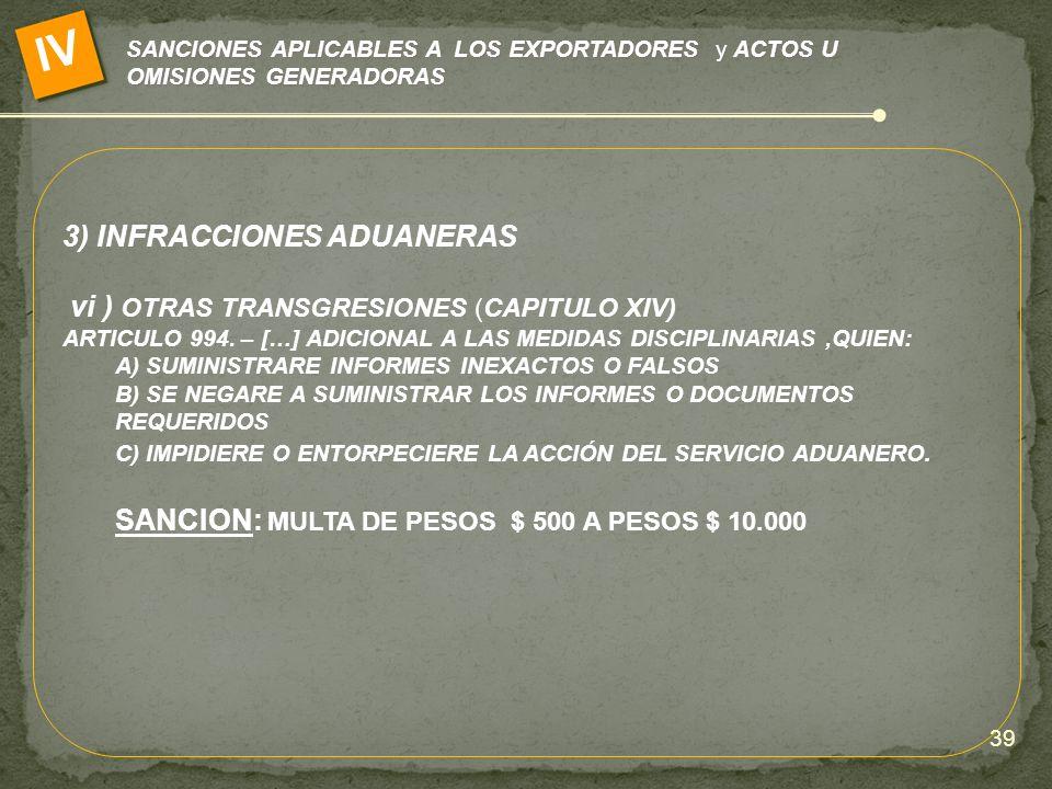 SANCIONES APLICABLES A LOS EXPORTADORES y ACTOS U OMISIONES GENERADORAS IV 3) INFRACCIONES ADUANERAS vi ) OTRAS TRANSGRESIONES (CAPITULO XIV) ARTICULO
