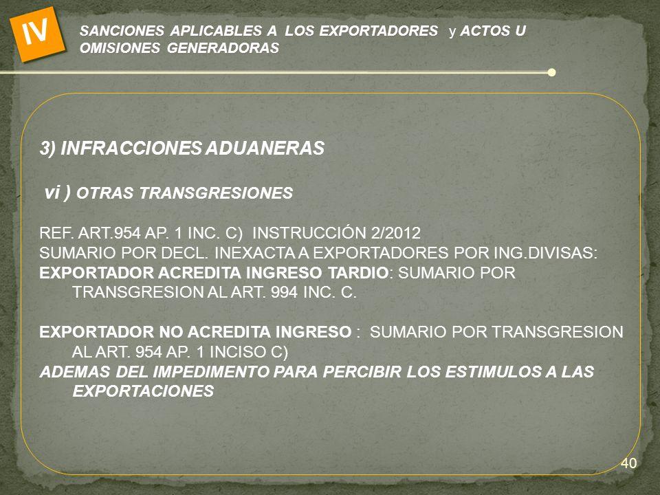 SANCIONES APLICABLES A LOS EXPORTADORES y ACTOS U OMISIONES GENERADORAS IV 3) INFRACCIONES ADUANERAS vi ) OTRAS TRANSGRESIONES REF. ART.954 AP. 1 INC.