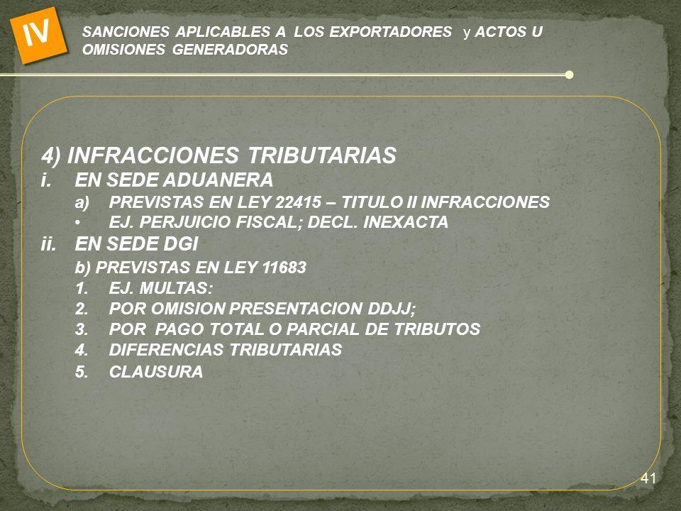 SANCIONES APLICABLES A LOS EXPORTADORES y ACTOS U OMISIONES GENERADORAS IV 4) INFRACCIONES TRIBUTARIAS i.EN SEDE ADUANERA a)PREVISTAS EN LEY 22415 – T