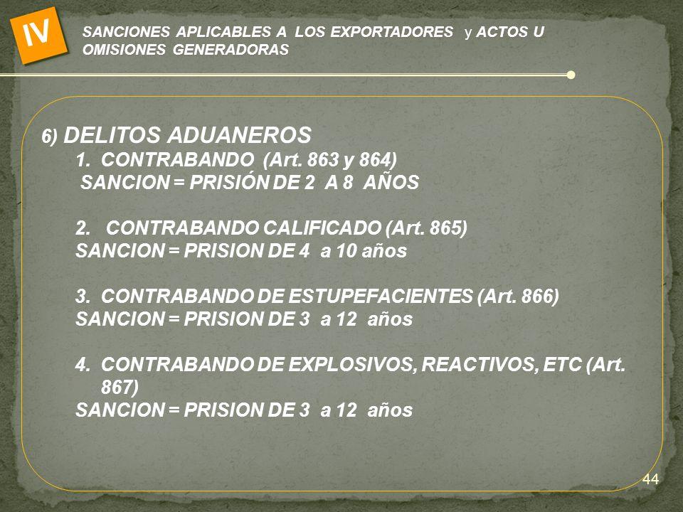 SANCIONES APLICABLES A LOS EXPORTADORES y ACTOS U OMISIONES GENERADORAS IV 6) DELITOS ADUANEROS 1.CONTRABANDO (Art. 863 y 864) SANCION = PRISIÓN DE 2