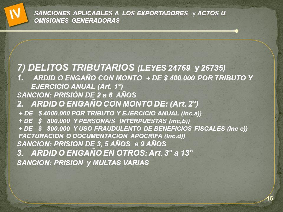 SANCIONES APLICABLES A LOS EXPORTADORES y ACTOS U OMISIONES GENERADORAS IV 7) DELITOS TRIBUTARIOS (LEYES 24769 y 26735) 1. ARDID O ENGAÑO CON MONTO +