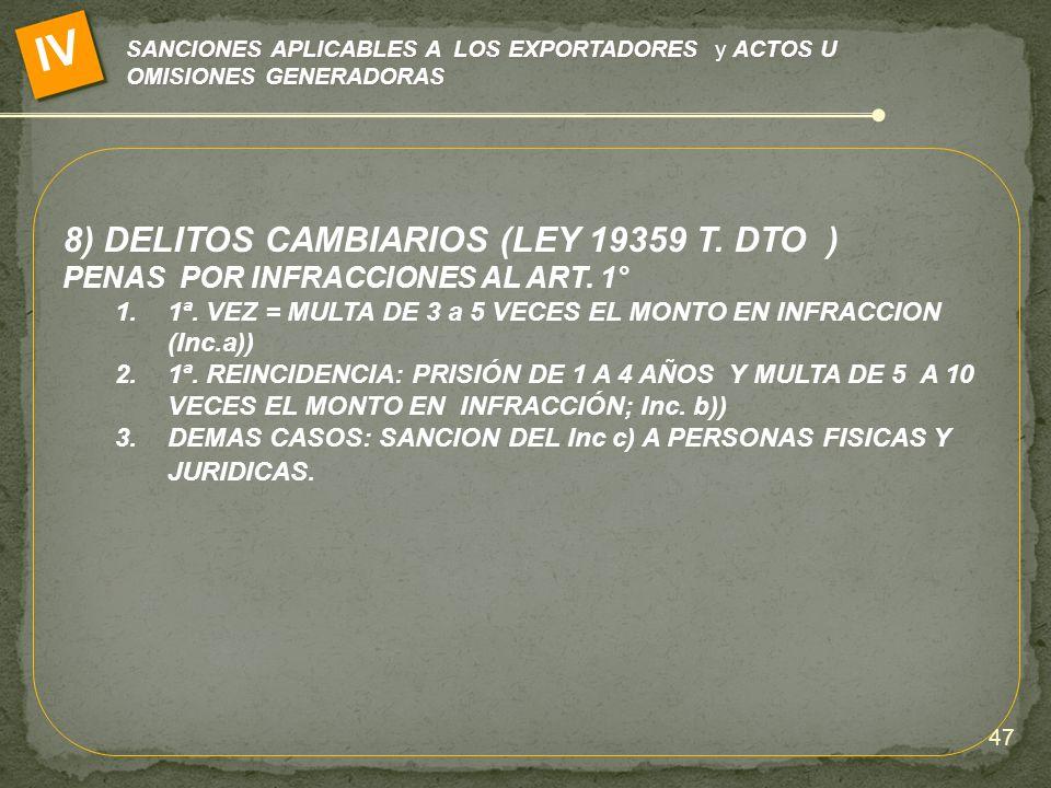 SANCIONES APLICABLES A LOS EXPORTADORES y ACTOS U OMISIONES GENERADORAS IV 8) DELITOS CAMBIARIOS (LEY 19359 T. DTO ) PENAS POR INFRACCIONES AL ART. 1°
