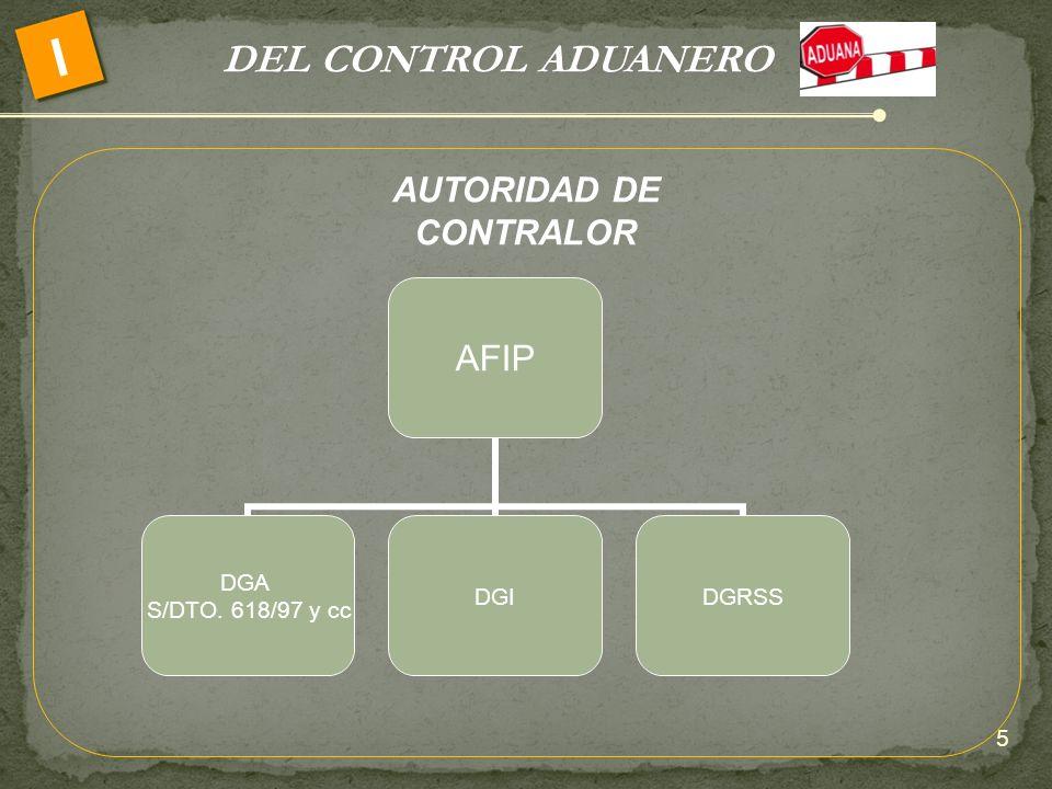 DEL CONTROL ADUANERO I 5 AFIP DGA S/DTO. 618/97 y cc DGIDGRSS AUTORIDAD DE CONTRALOR