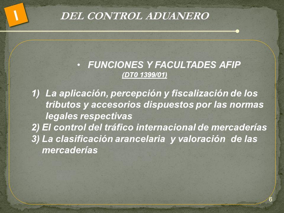 DEL CONTROL ADUANERO I FUNCIONES Y FACULTADES AFIP (DT0 1399/01) 1)La aplicación, percepción y fiscalización de los tributos y accesorios dispuestos p