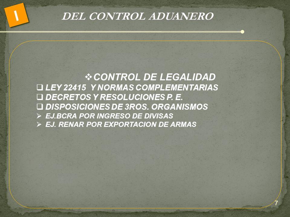 DEL CONTROL ADUANERO I CONTROL DE LEGALIDAD LEY 22415 Y NORMAS COMPLEMENTARIAS DECRETOS Y RESOLUCIONES P. E. DISPOSICIONES DE 3ROS. ORGANISMOS EJ.BCRA