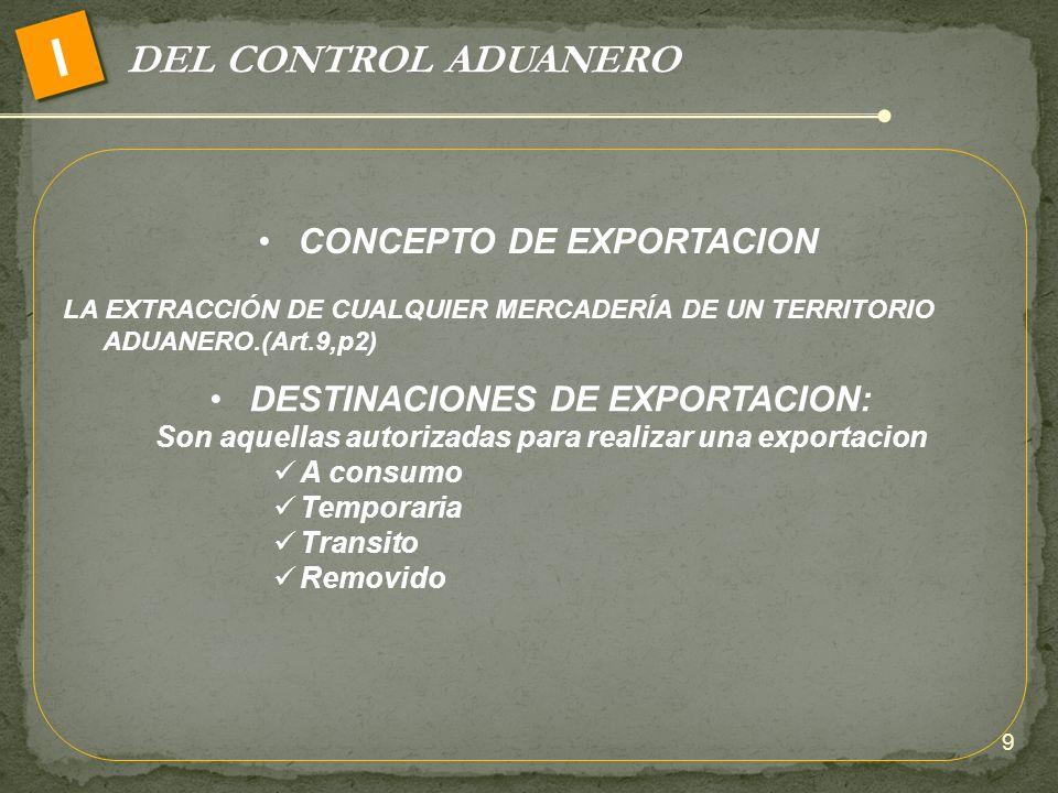 DEL CONTROL ADUANERO I CONCEPTO DE EXPORTACION LA EXTRACCIÓN DE CUALQUIER MERCADERÍA DE UN TERRITORIO ADUANERO.(Art.9,p2) DESTINACIONES DE EXPORTACION