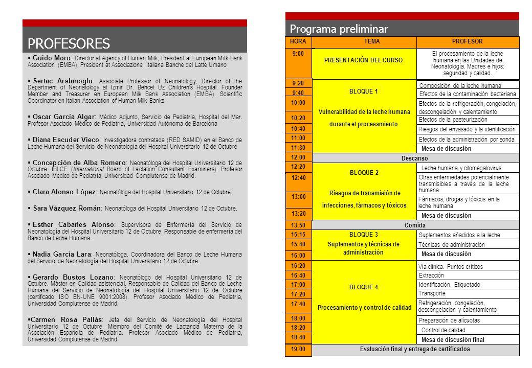 Ficha de identificación del alumno CURSO PROCESAMIENTO DE LECHE HUMANA EN UNIDADES DE NEONATOLOGÍA Lugar: Hospital Universitario 12 de Octubre.