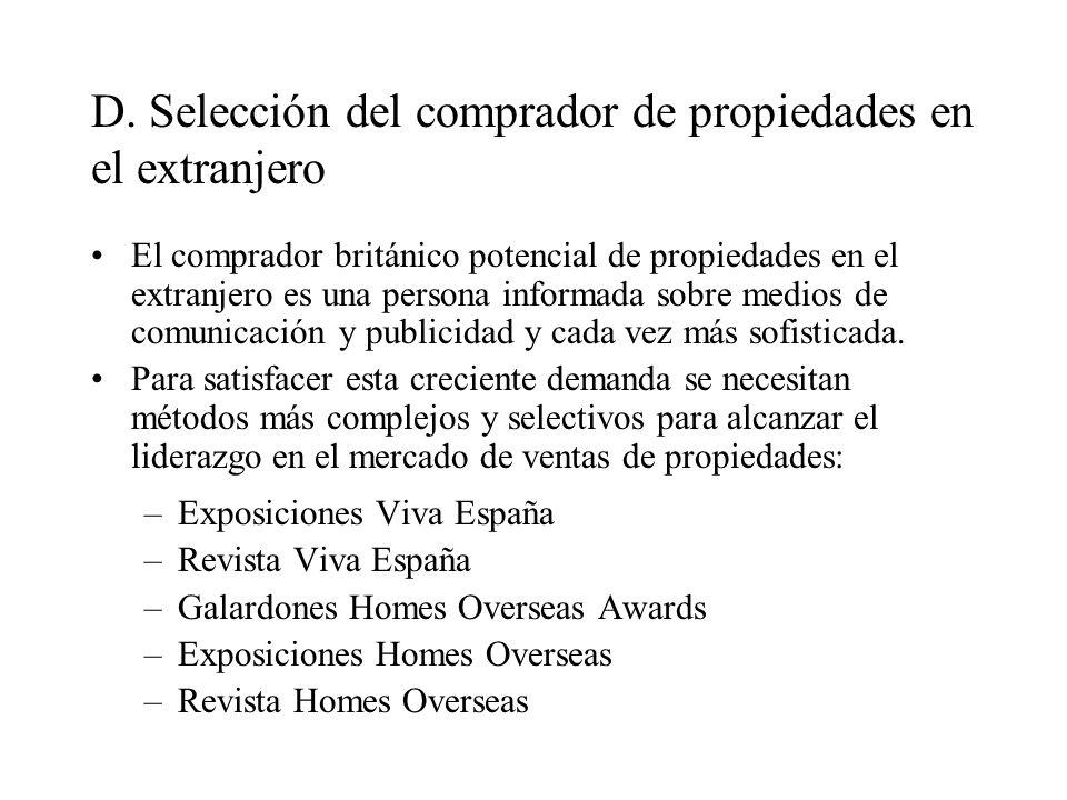 D. Selección del comprador de propiedades en el extranjero El comprador británico potencial de propiedades en el extranjero es una persona informada s