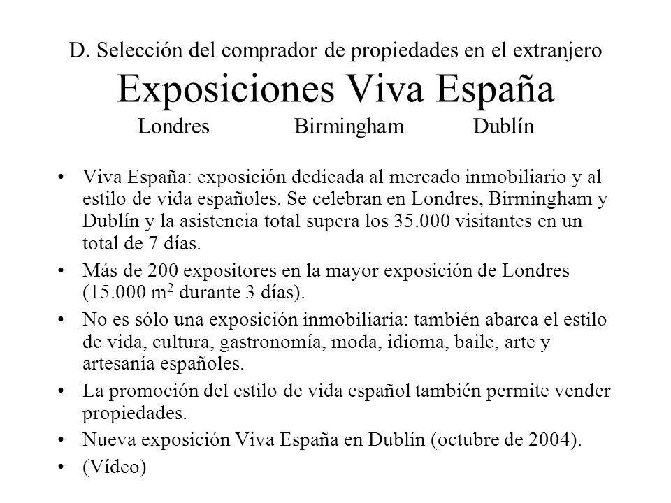 D. Selección del comprador de propiedades en el extranjero Exposiciones Viva España Londres BirminghamDublín Viva España: exposición dedicada al merca