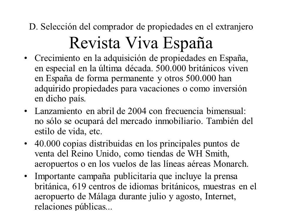 D. Selección del comprador de propiedades en el extranjero Revista Viva España Crecimiento en la adquisición de propiedades en España, en especial en