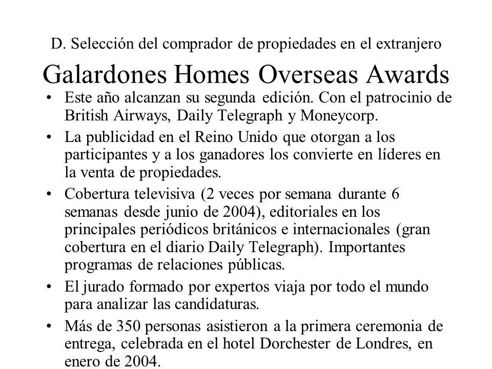 D. Selección del comprador de propiedades en el extranjero Galardones Homes Overseas Awards Este año alcanzan su segunda edición. Con el patrocinio de