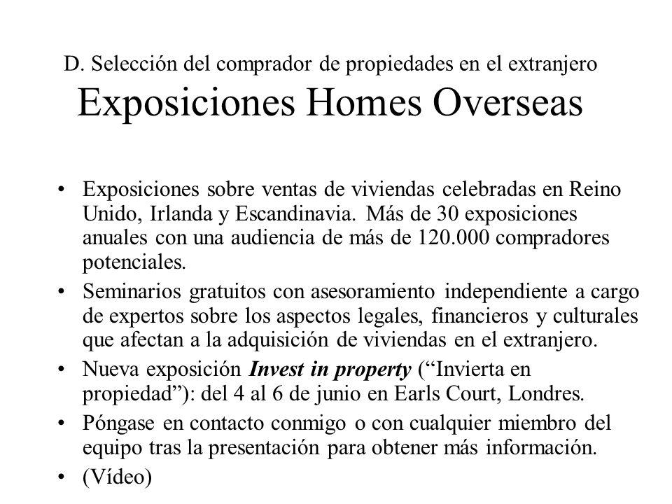 D. Selección del comprador de propiedades en el extranjero Exposiciones Homes Overseas Exposiciones sobre ventas de viviendas celebradas en Reino Unid