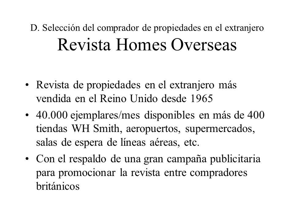 D. Selección del comprador de propiedades en el extranjero Revista Homes Overseas Revista de propiedades en el extranjero más vendida en el Reino Unid