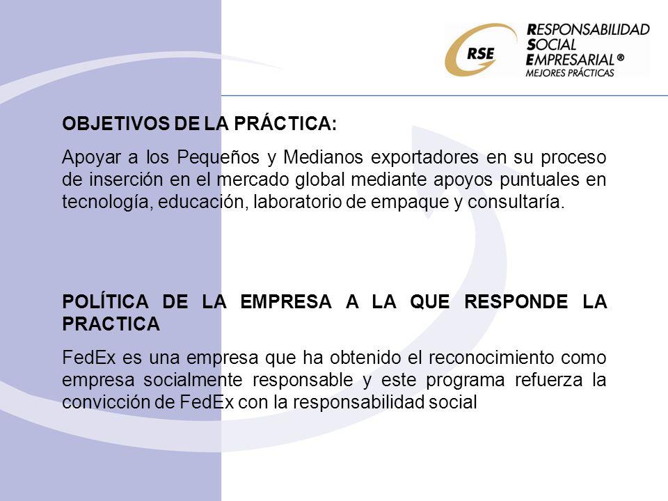 OBJETIVOS DE LA PRÁCTICA: Apoyar a los Pequeños y Medianos exportadores en su proceso de inserción en el mercado global mediante apoyos puntuales en t