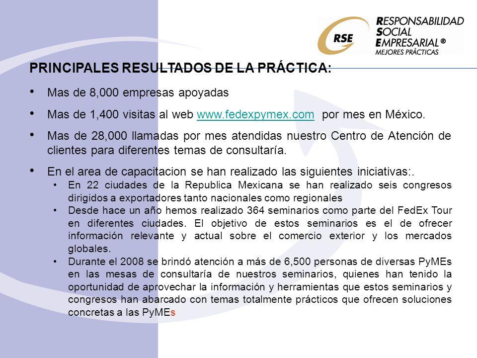 PRINCIPALES RESULTADOS DE LA PRÁCTICA: Mas de 8,000 empresas apoyadas Mas de 1,400 visitas al web www.fedexpymex.com por mes en México.www.fedexpymex.