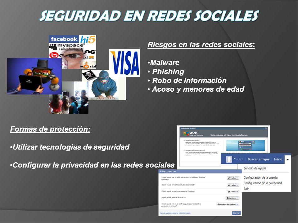 Riesgos en las redes sociales: Malware Phishing Robo de información Acoso y menores de edad Formas de protección: Utilizar tecnologías de seguridad Co