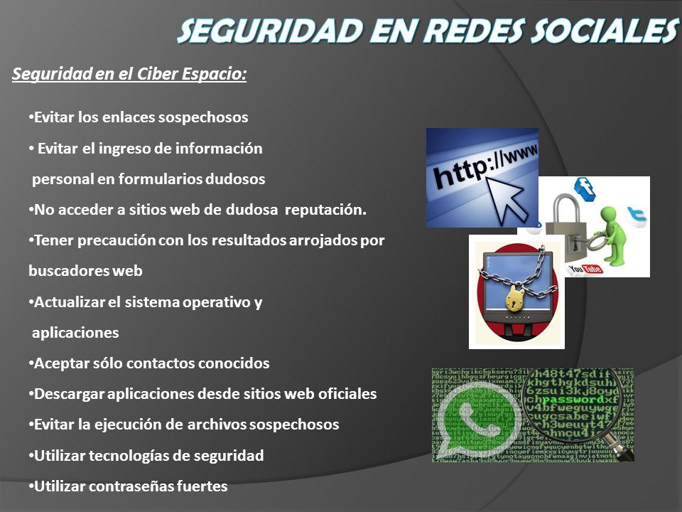 Seguridad en el Ciber Espacio: Evitar los enlaces sospechosos Evitar el ingreso de información personal en formularios dudosos No acceder a sitios web