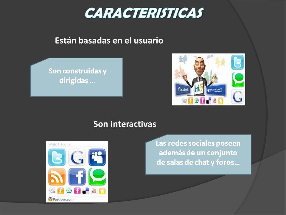 Están basadas en el usuario Son construidas y dirigidas... Son interactivas Las redes sociales poseen además de un conjunto de salas de chat y foros…