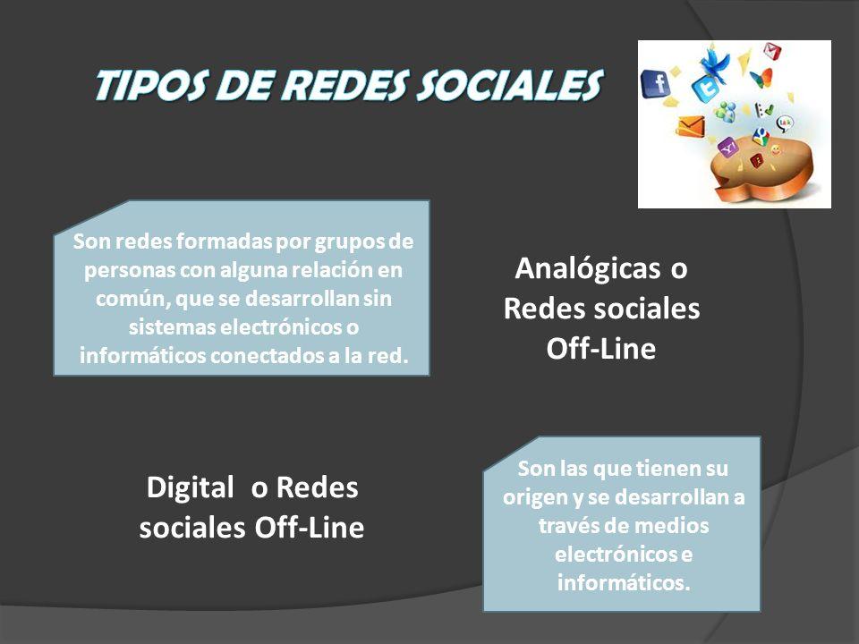 Analógicas o Redes sociales Off-Line Son redes formadas por grupos de personas con alguna relación en común, que se desarrollan sin sistemas electróni